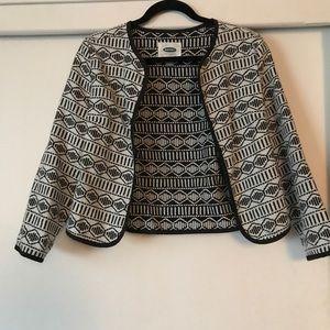 Black and white geometric cropped blazer